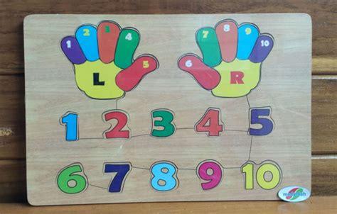Puzzle Angka Tangan Mainan Anak Kayu Edukasi Edukatif Montessori alat peraga edukasi puzzle telapak tangan dan angka