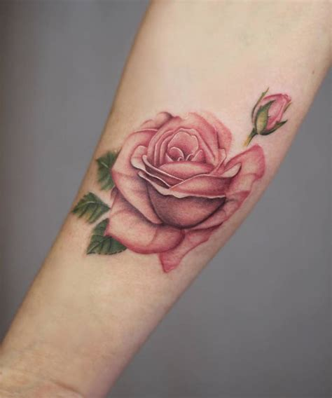 pink rose tattoos gorgeous botanical designs by schie