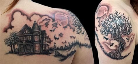 painless tattoo haunted house themed with graveyard ravens and a