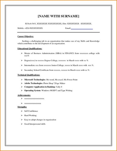 free printable fill in the blank resume templates free resume templates general cv exles uk sle for