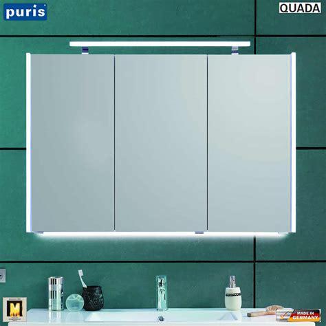 spiegelschrank puris puris quada spiegelschrank 100 cm mit seitlichen led