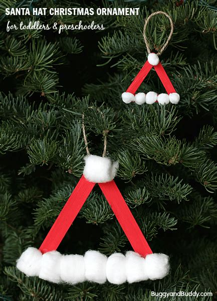 christmas ornaments to make with oreschool boy santa hat ornament using craft sticks buggy and buddy