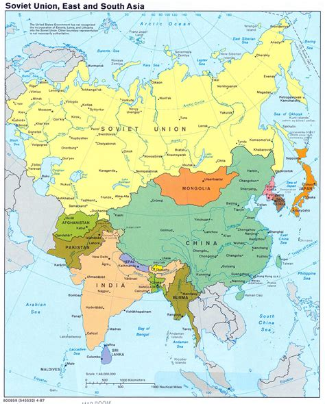 map of east and south asia soviet union east and south asia large map 1987 large