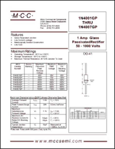 diode mcc 1n4007 motorola 1n4004 diode datasheet 28 images документация на 1n4001 компоненты производства eic