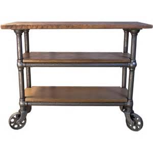 vintage industrial wood and metal roll around cart island at 1stdibs