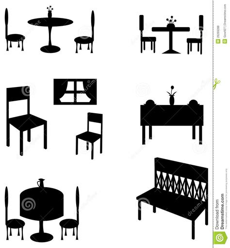 French Dining Room Sets sets of silhouette furniture create by vector royalty