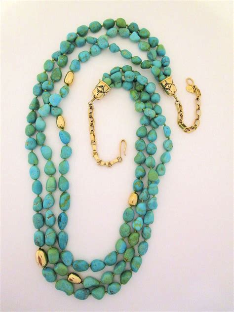 turquoise necklace turquoise 14kt gold necklace