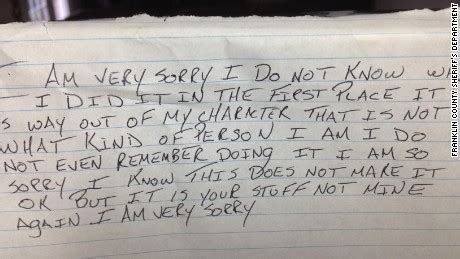 Apology Letter To Friend For Teasing Thief Returns Stolen Items With An Apology Cnn