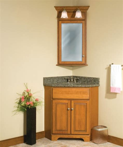 Two Story Farmhouse by Corner Bathroom Vanity Giving Unique Effect For Small