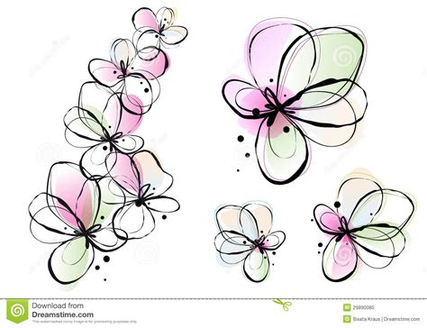 abstract watercolor flowers vector stock photo image