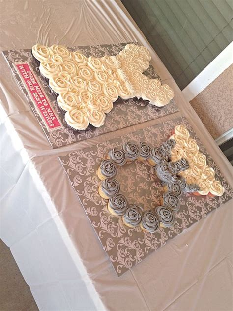 pull apart cupcake cake for bridal shower wedding dress and ring pull apart cupcake cake