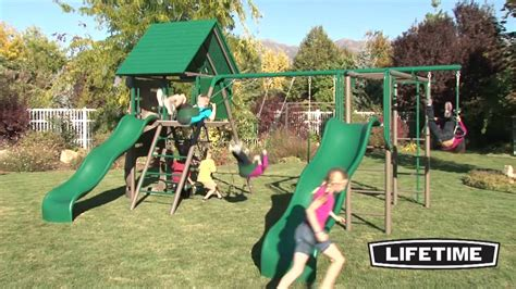 lifetime swing sets lifetime double slide deluxe playset earthtone youtube