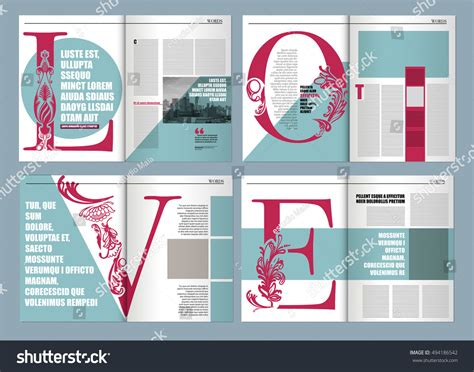 magazine layout on word modern magazine layout template de word stock vector