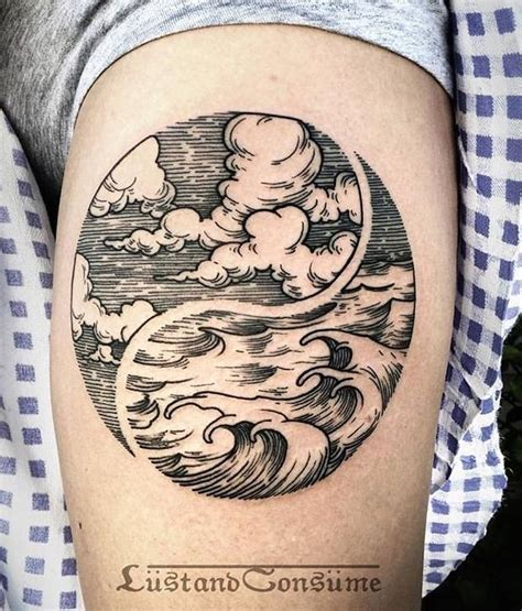ying tattoo instagram waves and clouds tattoo by lustandconsume on instagram
