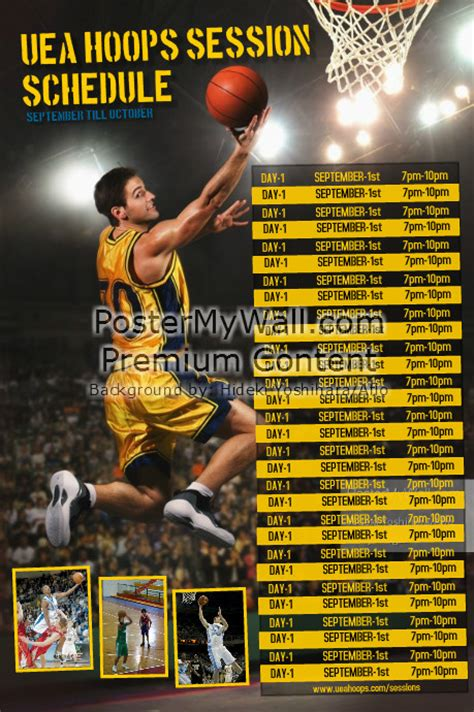 sports team photo templates basketball sports team schedule template postermywall