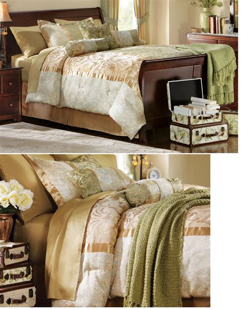 classy comforter sets elegant bedding comforter sham bedskirt set green gold