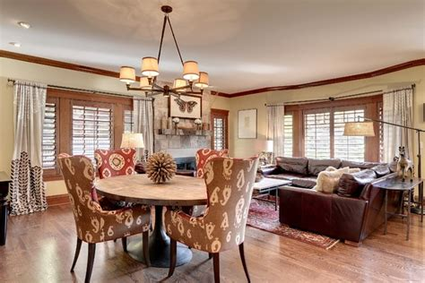 combined living room and dining room tudor revival combined living dining area craftsman