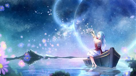 anime in background anime planet water flowers original characters