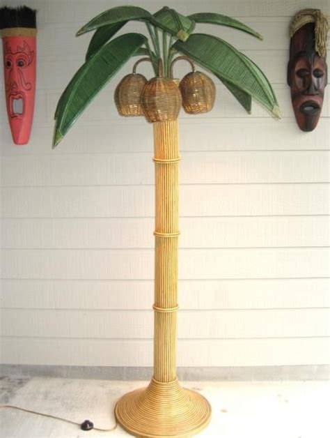bamboo rattan wicker palm tree floor l with coconut