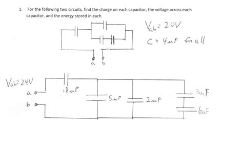 find charge on capacitor in circuit for the following two circuits find the charge on chegg