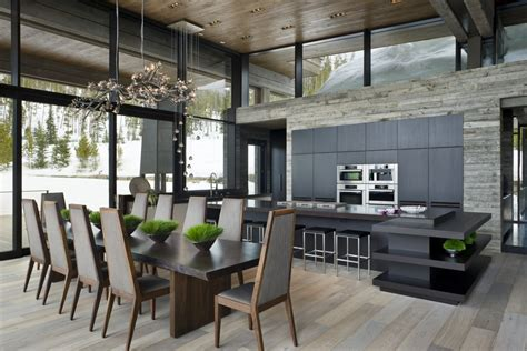 High Ceiling Kitchen Design by Mountain Mimic The Interior Of This Beautiful House