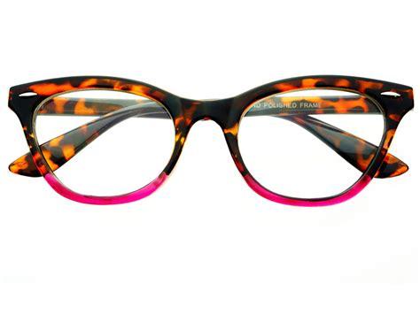 womens vintage clear lens cat eye glasses frames tortoise