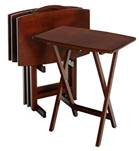portable table amazon amazon com winsome wood tv table set walnut portable