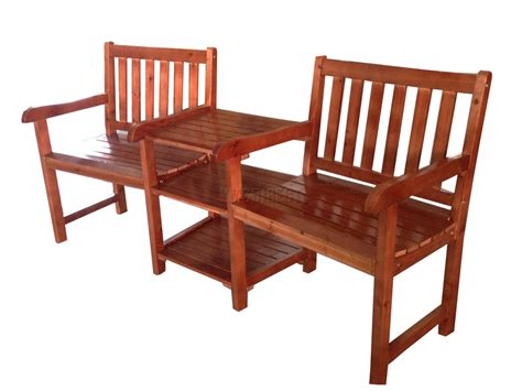 Wooden Patio Chairs Outdoor Furniture Garden Patio 2 Seater Wooden Companion Bench Chair Table Ebay