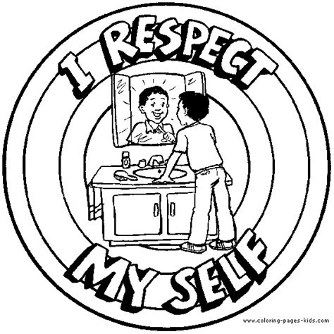 coloring page for respect i respect myself color page morale lesson color page