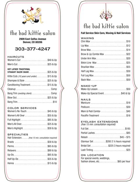 regis salon prices list regis salon pricing for coloring regis salon price menu