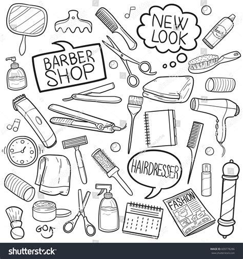 doodle hair vector hair dress salon barber shop doodle stock vector 609778286
