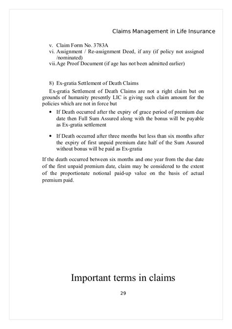 Insurance Maturity Letter project on claims management in insurance