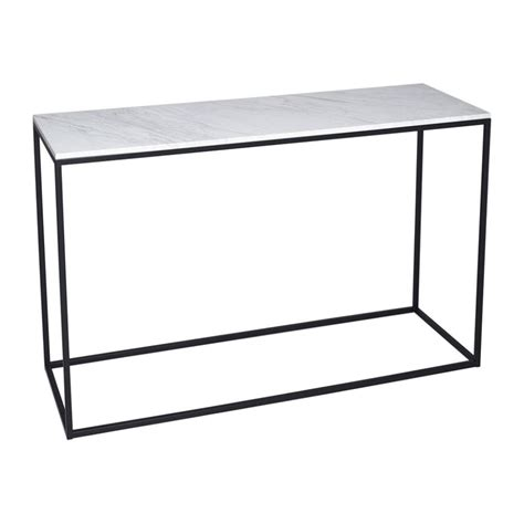 buy white marble and black metal console table from fusion