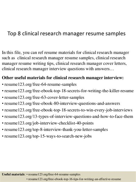 Clinical Research Manager Sle Resume by Top 8 Clinical Research Manager Resume Sles