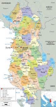 Albania Map In Europe by Political Map Of Albania Ezilon Map