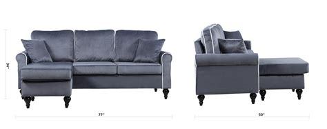 Grey Sectional Sofa With Chaise Traditional Small Space Grey Velvet Sectional Sofa With Reversible Chaise Ebay