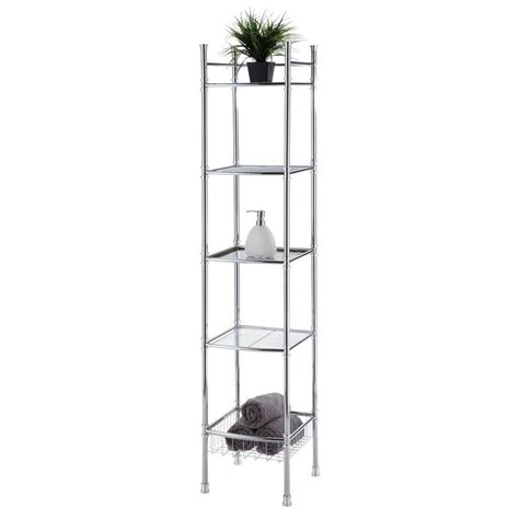 bathroom tower shelf chrome bathroom 5 tier tower shelf