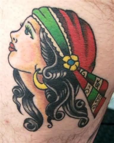 gypsy head tattoo on
