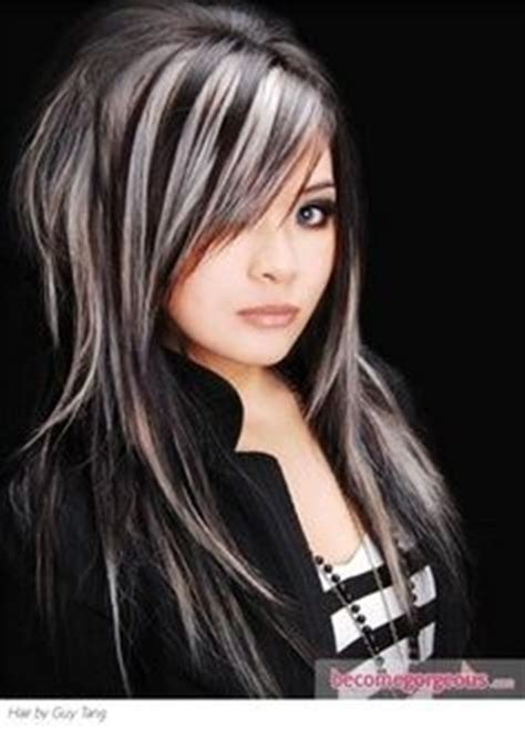 black hair with grey streaks gray streak in hair hairstyles pinterest gray