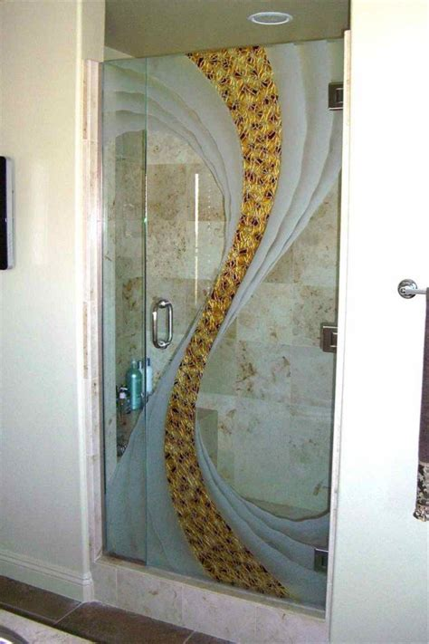 Decorative Shower Doors Etched Decorative Glass Shower Swirl Doors Beautiful