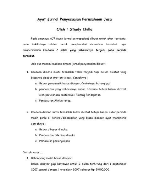 membuat ayat jurnal contoh jurnal penyesuaian bengkel contoh ik
