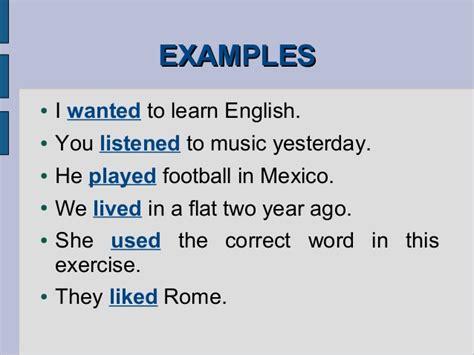 past simple regular verbs exles