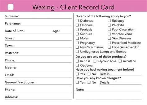 hairdressing client record card template waxing client card treatment consultation card
