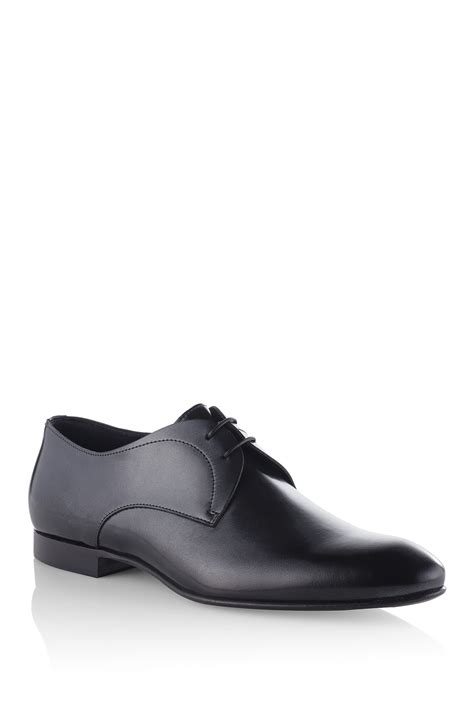 hugo cermiro leather metallic derby dress shoes in