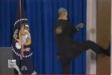 Obama Kicks Door by Leno Obama Kicking Open Door