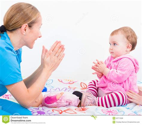 Baby Sitter by Adorable Baby With Stock Photo Image 50711928