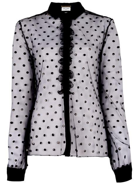Blouse Motif Polkadot T2610 lyst laurent sheer polka dot blouse in black