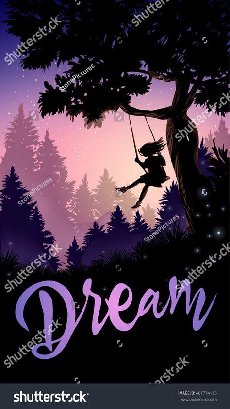 romantic swing songs inspirational romantic poster girl on tree stock vector