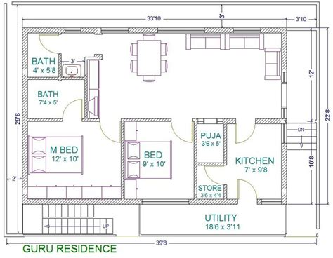 30x40 house floor plans 30x40 2 bedroom house plans plans for east facing plot