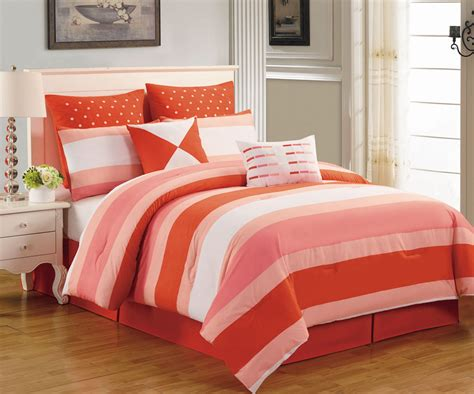 coral queen bedding 8 piece preston coral and pink comforter set